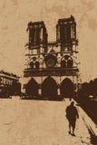 Vintage Notre Dame Cathedral Foto de Stock