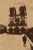 Vintage Notre Dame Cathedral  Stock Photo
