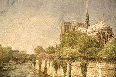 Vintage Notre-Dame Cathedral Paris Stock Photography