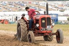 Vintage Nuffield 10/42 de ploughing do trator Fotografia de Stock Royalty Free