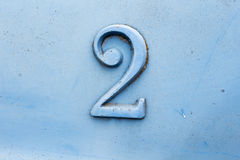 Vintage number two. Colored blue Stock Image