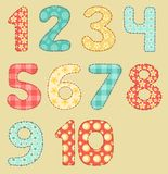 Vintage numbers patchwork set. Royalty Free Stock Images
