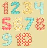 Vintage numbers patchwork set. Vintage numbers set. Patchwork series. Iillustration Royalty Free Stock Images