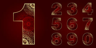 Vintage Numbers Set with floral swirls Stock Images