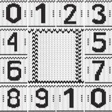Vintage numbers set and knitted frame background. Stock Photography