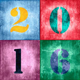 2016, vintage numbers on textured colorful background Royalty Free Stock Image