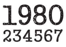 Vintage numerals. Set with worn effect Royalty Free Stock Image
