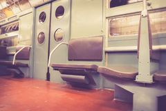 Vintage NYC subway train car interior Stock Image