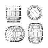Vintage oak barrel set stock illustration
