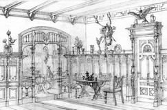 Vintage oak dining room pencil drawing Royalty Free Stock Image