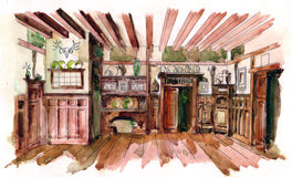 Vintage oak dining room. Water color drawing in warm colors scale Royalty Free Stock Photos