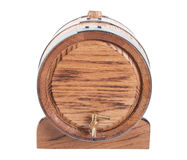 Wine barrel. Vintage oak wine barrel isolated on white background stock photo