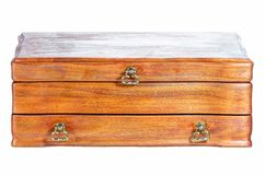 Vintage oaken casket. Vintage oaken casket on the white Royalty Free Stock Photography