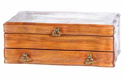 Vintage oaken casket. Vintage oaken casket on the white Stock Photography