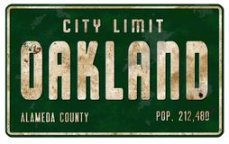 Vintage Oakland California City Limit Welcome Street Sign. Oakland CA Street Sign Entering City Limits California Population retro grunge metal highway freeway stock images