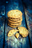 Vintage oatmeal cookies on rustic wooden background Stock Photos