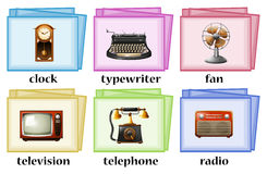 Vintage objects on flashcards Royalty Free Stock Image