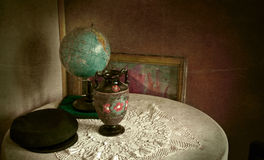 Vintage objects in grungy room. Vintage still life - old fashioned objects Stock Image