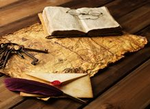 Vintage objects on map Royalty Free Stock Images
