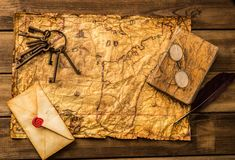 Vintage objects on old paper Royalty Free Stock Photo