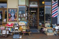 Vintage objects for sale at street market antiques shop Royalty Free Stock Photo