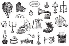 Vintage objects set Stock Images