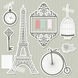 Vintage objects silhouettes paper cut. Stock Photo