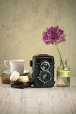 Vintage objects. Still life with vintage camera and other retro objects Royalty Free Stock Photo