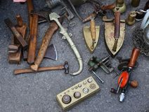 Vintage objects. For sale on asphalt Stock Photos