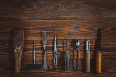Vintage objects on wooden background vintage concept and Rustic Stock Photography