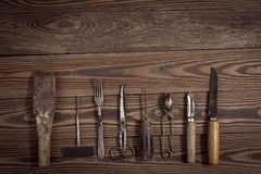 Vintage objects on wooden background vintage concept and Rustic Royalty Free Stock Photo