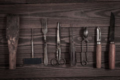 Vintage objects on wooden background vintage concept and Rustic Royalty Free Stock Images