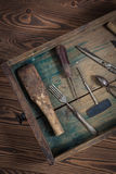 Vintage objects on wooden background vintage concept and Rustic Stock Photo