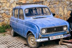 Vintage and obsolete car parked in a street of Ohrid, Macedonia Stock Photo