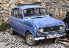 Vintage and obsolete car parked in a street of Ohrid, Macedonia Royalty Free Stock Photography