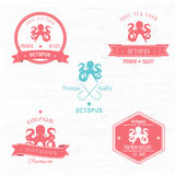 Vintage Octopus Badge set Stock Image