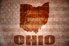 Vintage ohio map. Ohio map on a vintage american flag background stock images