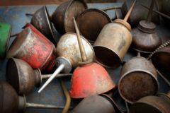 Vintage Oil Cans Royalty Free Stock Photos
