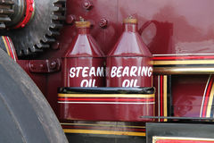 Vintage Oil Cans. The Oil Cans of a Vintage Steam Traction Engine Royalty Free Stock Photo