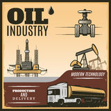 Vintage Oil Industry Poster Stock Photo
