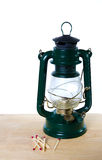 Vintage oil lamp with matches Royalty Free Stock Images