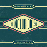 Vintage Oil Sign - Retro Template. With Grunge Texture Stock Photography