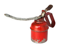 Vintage oiler. Closeup image of classic red oiler on white background stock photo