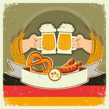 Vintage oktoberfest background with hands and beer. S.Vector illustration on old paper for text Royalty Free Stock Photo
