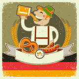 Vintage oktoberfest posterl  with German man and b Stock Images