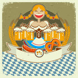 Vintage oktoberfest symbol label with girl and bee Stock Photo