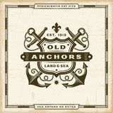 Vintage Old Anchors Label Stock Images