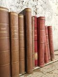 Vintage old antique books stock images