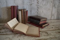 Vintage old antique books stock photo