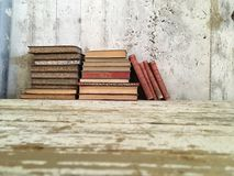Vintage old antique books royalty free stock photo